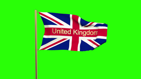 United Kingdom Flag With Title United Kingdom Waving In The Wind. Looping Sun Ri stock footage