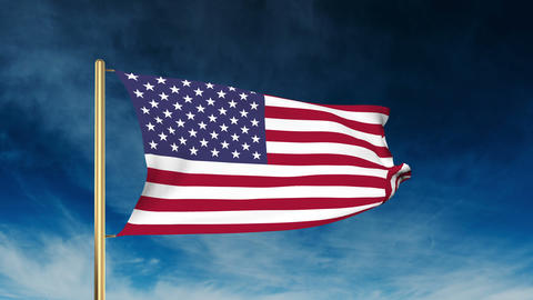 United states flag slider style. Waving in the win with cloud background Animation