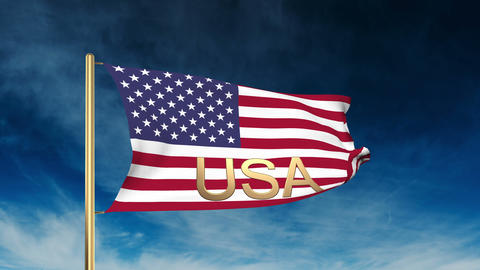 United states flag slider style with title USA. Waving in the win with cloud bac Animation