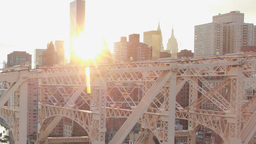 New York City Evening Sunset Aerial Manhattan Buildings Bridge Over River Dolly stock footage