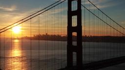 San Francisco Golden Gate Bridge Sunrise Morning Pan stock footage