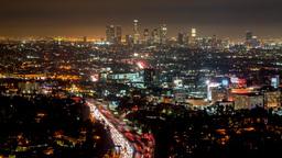 Los Angeles Night Skyline View Timelapse stock footage