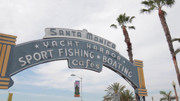 Santa Monica Pier Gate Sign stock footage