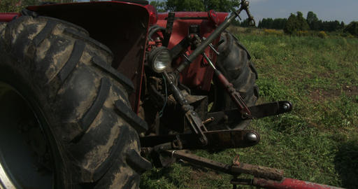 Rear part of a tractor ready for harvest Footage