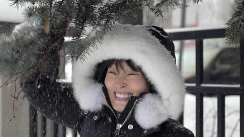Winter Fun In Slow Motion stock footage