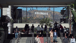 Hollywood Sign From Shopping Mall stock footage
