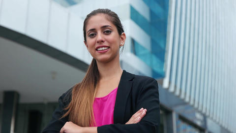 Portrait Confident Business Woman Looking Copy Space Footage