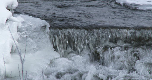 Stream of water in winter Footage