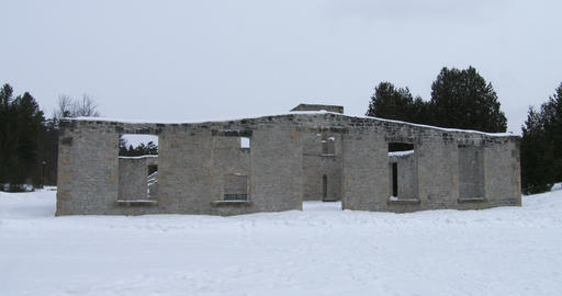 Ruins of old mill in Rockwood Conservation Area in Canada Live Action