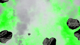 Explosion , stones , black smoke on green screen Animation
