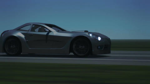 Silver Sports Car Time Lapse Animation