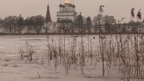 Winter in the Russian Orthodox monastery Footage