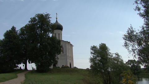 Old Church On The Banks Of The River Russian stock footage