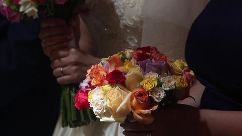 Bridal bouquet and bouquet of godmother 01 Footage