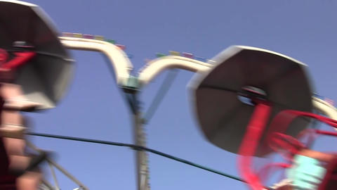 Rotating carousel in an amusement park 04 Footage