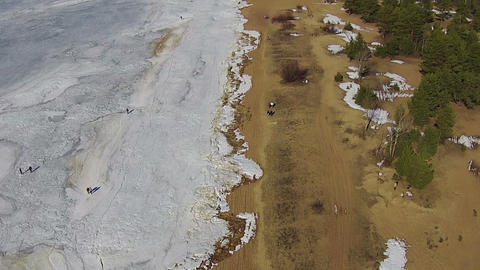 Flying Above Winter Beach, Sunny Day stock footage