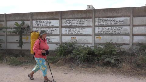 Pilgrim On The Camino De Santiago 70 stock footage
