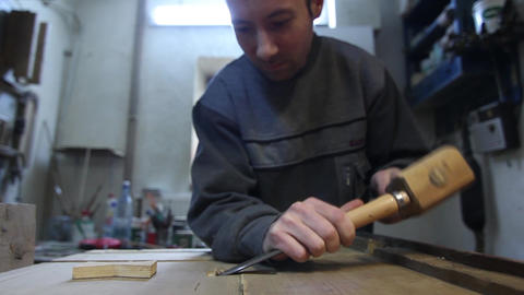Wood carver 02 Footage