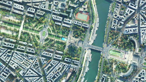 Zoom in from a satellite down to a city on Earth Live Action