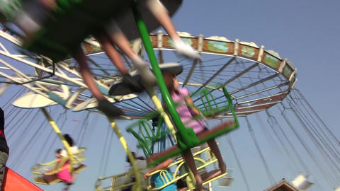 Rotating carousel in an amusement park 03 Footage