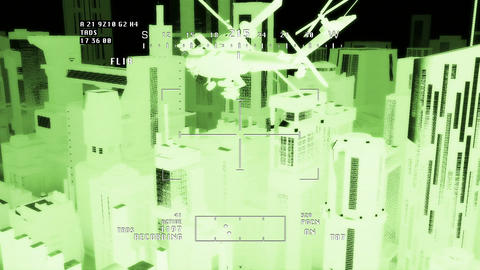 Apaches in City 09 nightvision apache monitor Stock Video Footage
