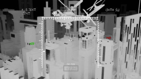 Apaches in City 11 nightvision military monitor Animation