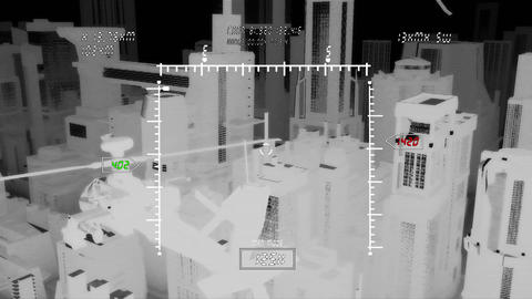 Apaches in City 11 nightvision military monitor Stock Video Footage