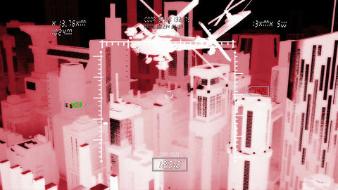 Apaches in City 13 nightvision military monitor Animation
