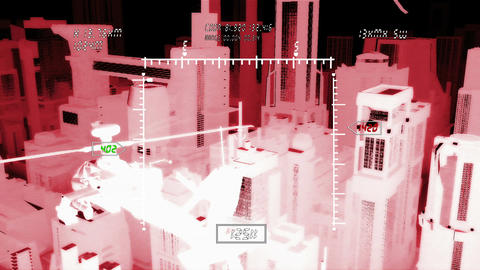 Apaches in City 13 nightvision military monitor Stock Video Footage