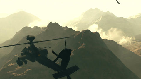 Apaches in Mountains 01 sunset Stock Video Footage