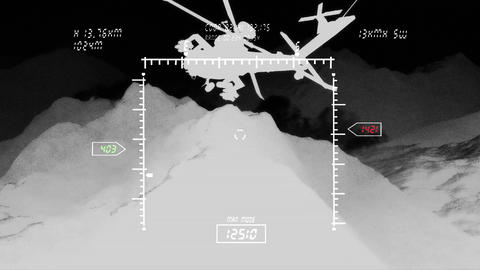 Apaches in Mountains 10 nightvision BW military monitor Stock Video Footage