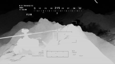 Apaches in Mountains 12 nightvision apache monitor Stock Video Footage
