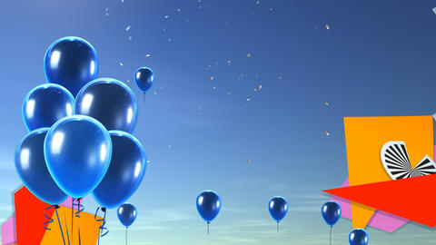 balloon background blue Stock Video Footage