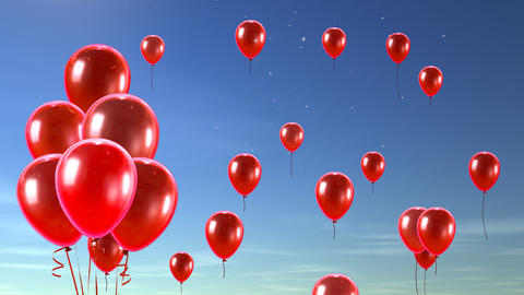 balloon up to sky red Stock Video Footage