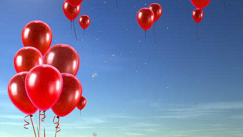 balloon up to sky red Animation