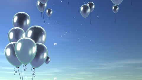 balloon up to sky silver Stock Video Footage