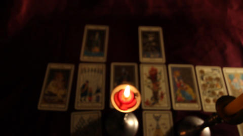 Candles Tarot Cards 02 dolly Stock Video Footage