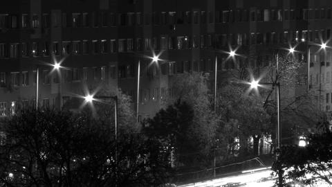 City Night Timelapse BW 13 Stock Video Footage