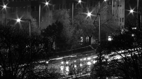 City Night Timelapse BW 13 Stock Video Footage