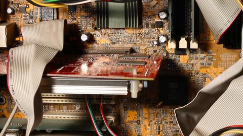Desktop Computer Inside 04 pan up Stock Video Footage