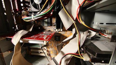 Desktop Computer Inside 14 wideangle pan up Stock Video Footage