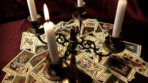 Foreteller Tarot Cards 17 Stock Video Footage