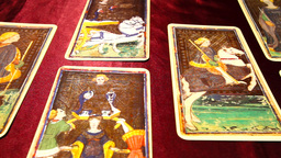 Tarot Cards 01 dolly right Stock Video Footage