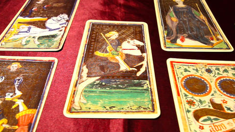 Tarot Cards 01 dolly right Footage