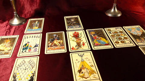 Tarot Cards 07 dolly left Footage