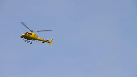 Broadcast Camera Equipped Helicopter 02 Stock Video Footage
