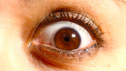 Caucasian Women Eye with Contact Lens 01 Stock Video Footage