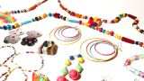 Colorful Plastic Jewellery 05 Dolly Right stock footage