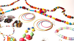 Colorful Plastic Jewellery 05 dolly right Footage