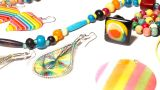 Colorful Plastic Jewellery 07 Pan Right stock footage